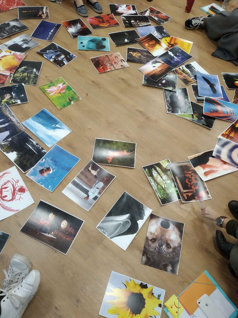 Bilder liegen zur Auswahl auf dem Boden verteilt.