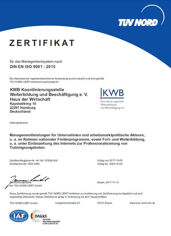 KWB Hamburg - Zertifizierung